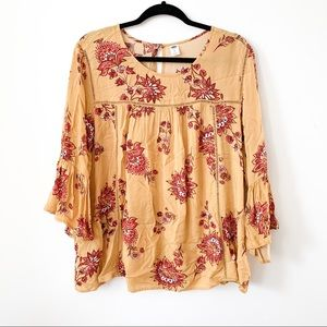 Patterned Bell Sleeved Blouse // Old Navy